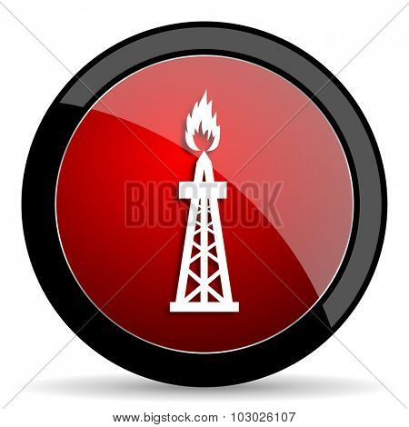 gas red circle glossy web icon on white background, round button for internet and mobile app