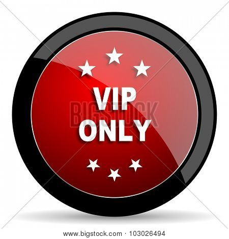 vip only red circle glossy web icon on white background, round button for internet and mobile app