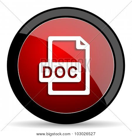 doc file red circle glossy web icon on white background, round button for internet and mobile app