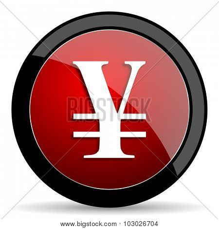 yen red circle glossy web icon on white background, round button for internet and mobile app
