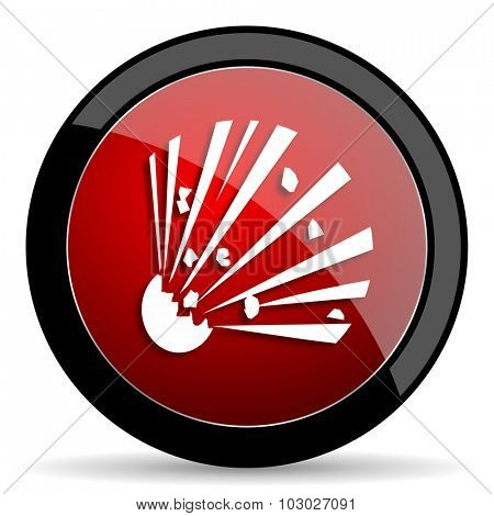 bomb red circle glossy web icon on white background, round button for internet and mobile app