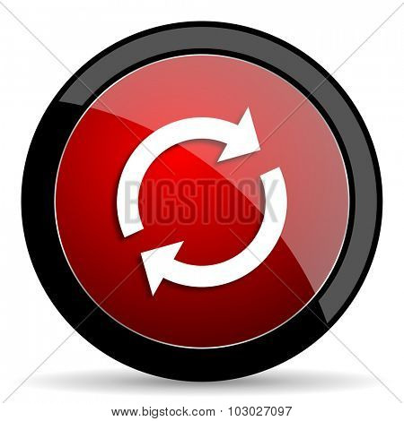 reload red circle glossy web icon on white background, round button for internet and mobile app