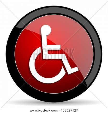 wheelchair red circle glossy web icon on white background, round button for internet and mobile app