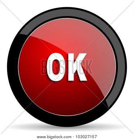 ok red circle glossy web icon on white background, round button for internet and mobile app