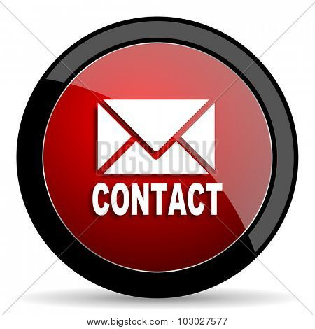 email red circle glossy web icon on white background, round button for internet and mobile app
