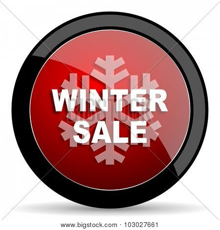 winter sale red circle glossy web icon on white background, round button for internet and mobile app