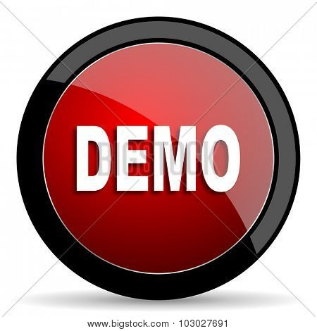 demo red circle glossy web icon on white background, round button for internet and mobile app