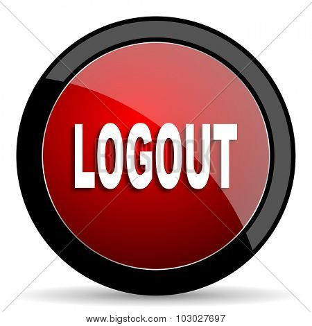logout red circle glossy web icon on white background, round button for internet and mobile app