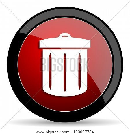 recycle red circle glossy web icon on white background, round button for internet and mobile app