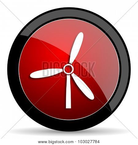 windmill red circle glossy web icon on white background, round button for internet and mobile app