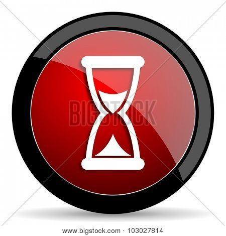 time red circle glossy web icon on white background, round button for internet and mobile app