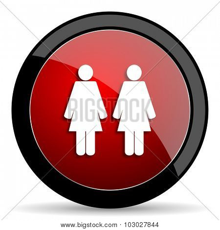 couple red circle glossy web icon on white background, round button for internet and mobile app