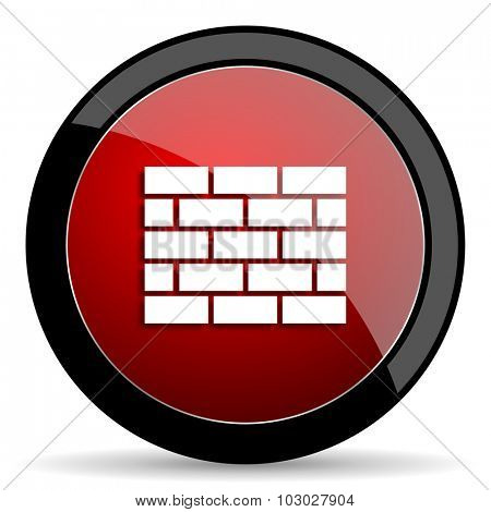 firewall red circle glossy web icon on white background, round button for internet and mobile app