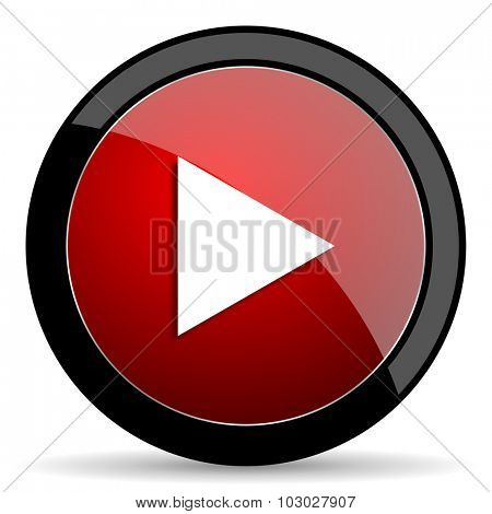 play red circle glossy web icon on white background, round button for internet and mobile app