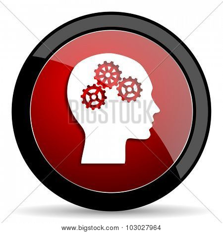 head red circle glossy web icon on white background, round button for internet and mobile app