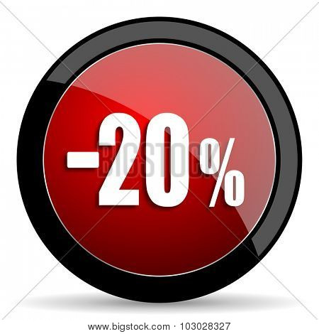 20 percent sale retail red circle glossy web icon on white background, round button for internet and mobile app