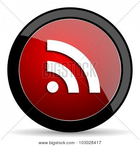 rss red circle glossy web icon on white background, round button for internet and mobile app