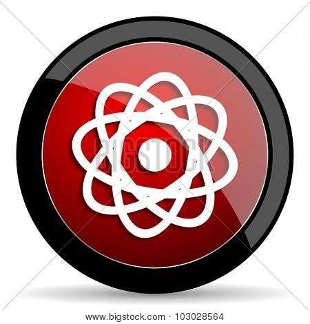 atom red circle glossy web icon on white background, round button for internet and mobile app