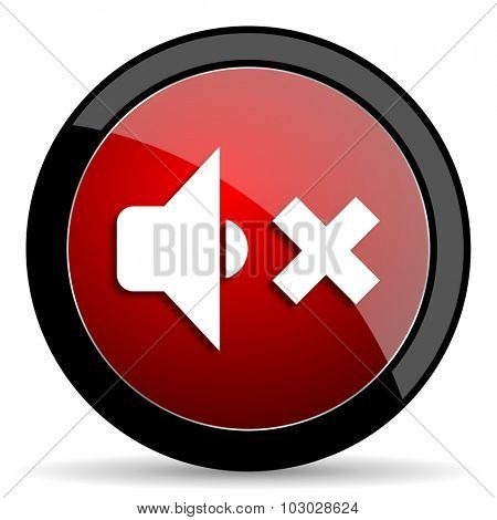 speaker volume red circle glossy web icon on white background, round button for internet and mobile app