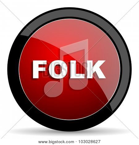 folk music red circle glossy web icon on white background, round button for internet and mobile app