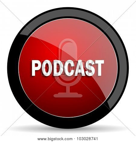podcast red circle glossy web icon on white background, round button for internet and mobile app
