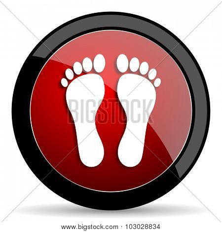 foot red circle glossy web icon on white background, round button for internet and mobile app