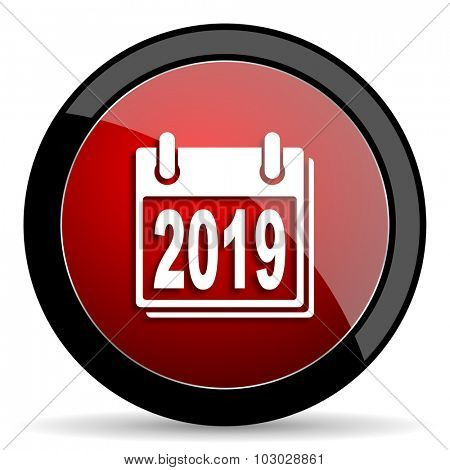 new year 2019 red circle glossy web icon on white background, round button for internet and mobile app