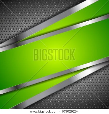 Abstract green background with metallic perforated design
