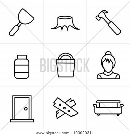 Line Icons Style  Icons Set Carpentry