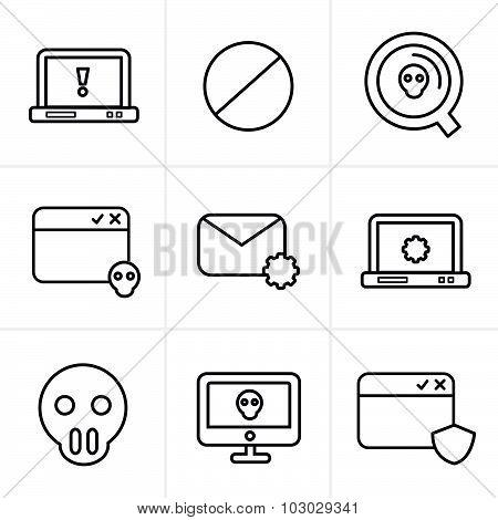 Line Icons Style  Digital Criminal Icons Set