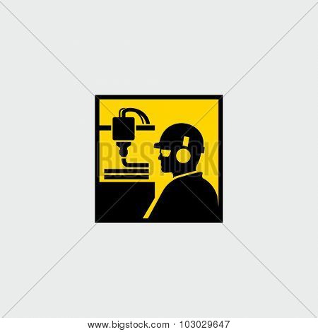 Worker in production plant working with 3D printer vector icon