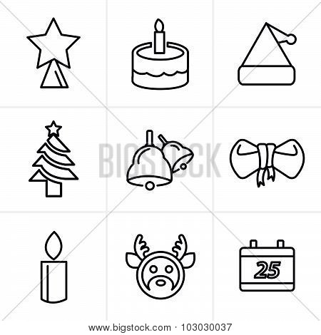Line Icons Style Icons Set Christmas, Vector Design
