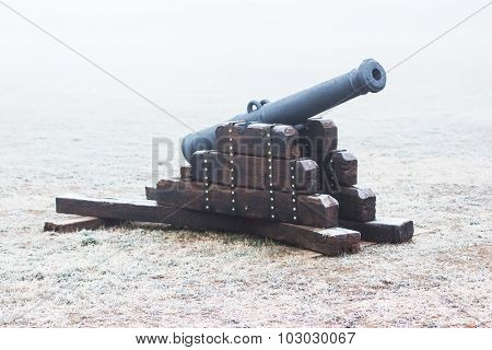 Medieval cannon on a cold winter day