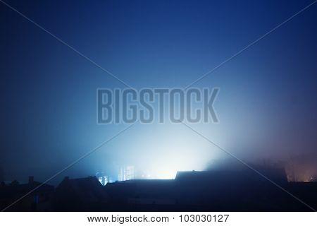 City fog at night