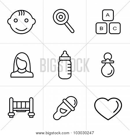 Line Icons Style  Baby  Icons Set, Vector Design