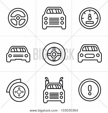 Line Icons Style Car Icons Set, Vector Design