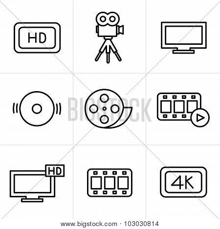 Line Icons Style Movie Icons Set
