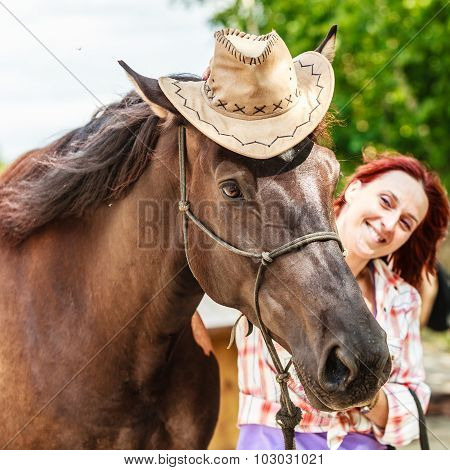 Funny Young Woman Girl Taking Care Of Horse.
