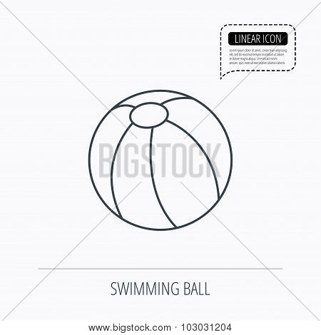 Swimming ball icon. Beach toy sign.