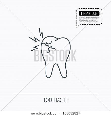 Toothache icon. Dental healthcare sign.