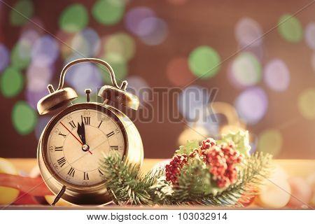 Clock And Christmas Lights