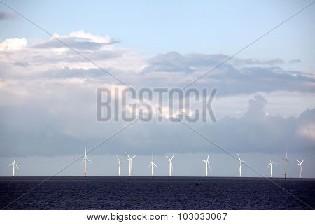 Wind Turbine Power Station In The Sea, Uk