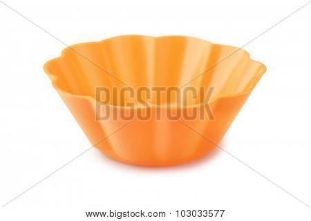 Silicone cupcake mould isolated on white