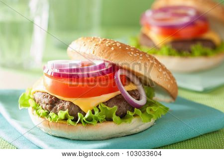 cheese burger with beef patty lettuce onion tomato