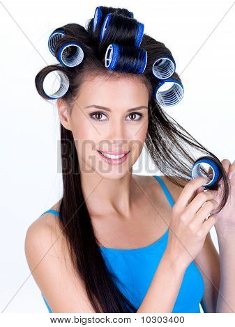 Happy Woman In Hairrollers