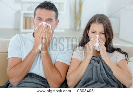 Couple both have a cold
