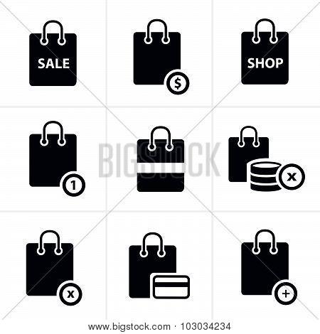 Shopping Bag Icons On White Background. Vector Illustration.