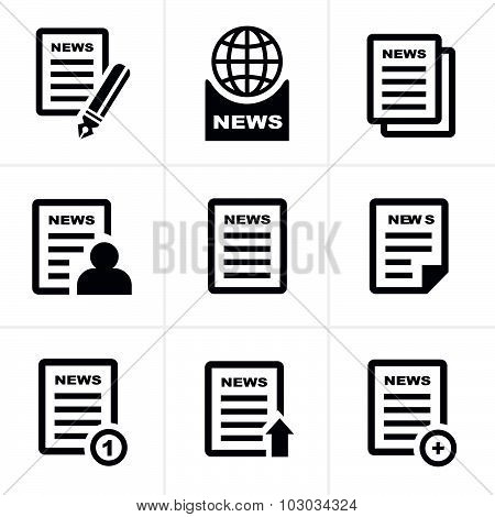 Newspaper Icons Set