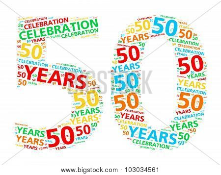 Colorful word cloud for celebrating a 50 year birthday or anniversary