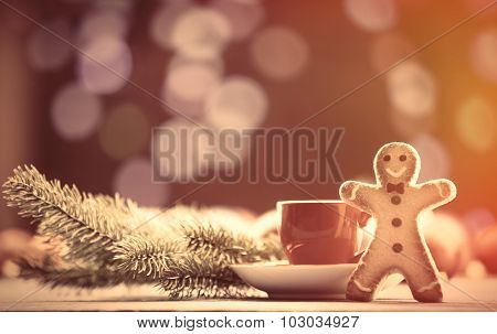 Cup Of Tea And Cookie With Christmas Lights